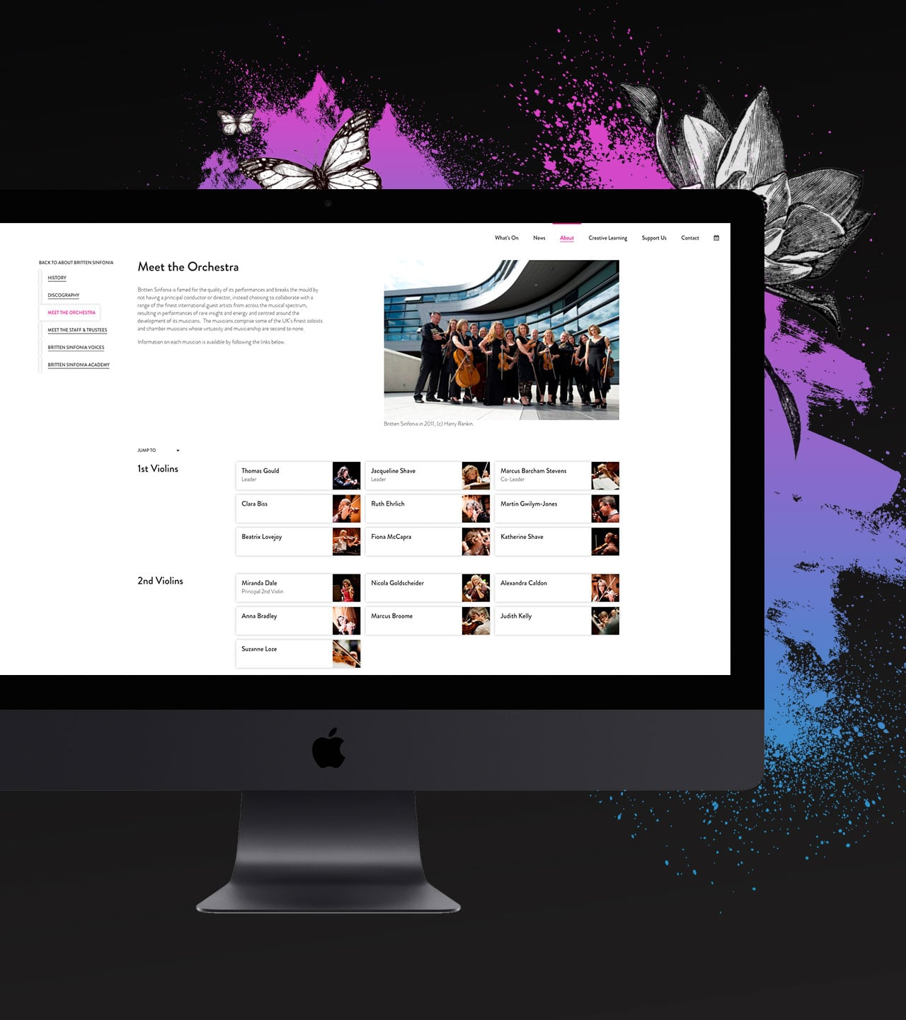 Britten Sinfonia website design meet the orchestra