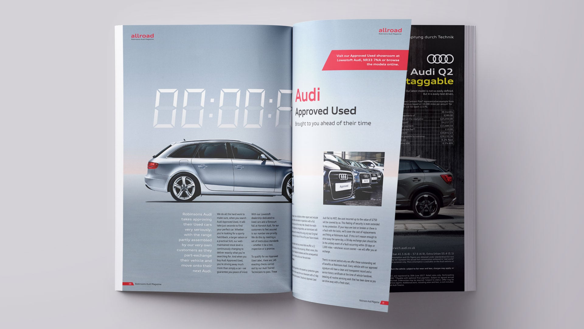 Robinsons Audi allroad magazine approved used spread mockup print design
