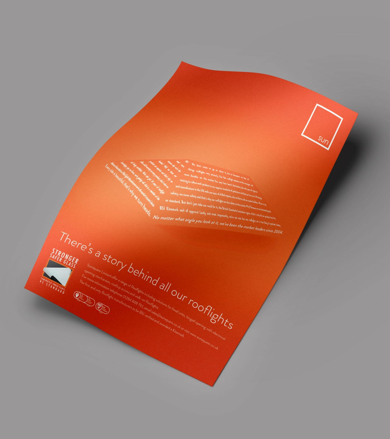 Sun square poster mock-up print design